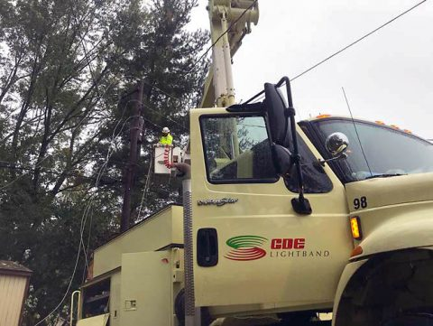 CDE Lightband crew working to restore power to Clarksville residents.