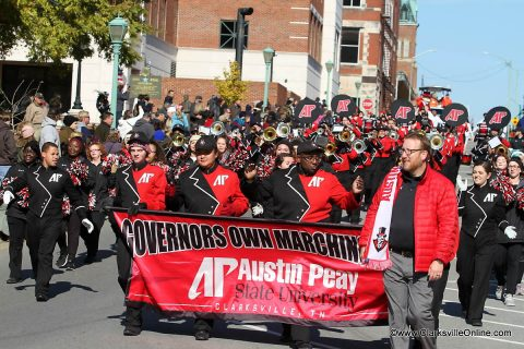 Clarksville celebrates APSU's Homecoming and Veterans Day with a parade through the streets of downtown.