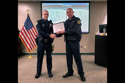 Clarksville Police Officer Jonathan Williams receives Lifesaver Award.