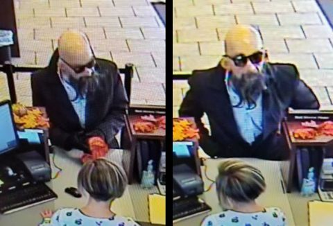 Clarksville Police are trying to identify the man in these photos for the robbery of Cornerstone Financial Credit Union.