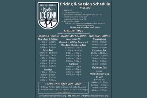 Downtown Commons Winter Ice Rink Pricing and Schedule