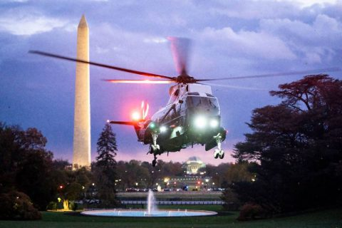 Marine One, carrying President Donald J. Trump and First Lady Melania Trump, approaches for landing on the South Lawn of the White House. (Joyce N. Boghosian, Official White House)