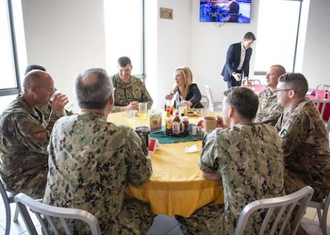 Marsha Blackburn meeting with troops at Camp Lemonnier in Djibouti, Africa.