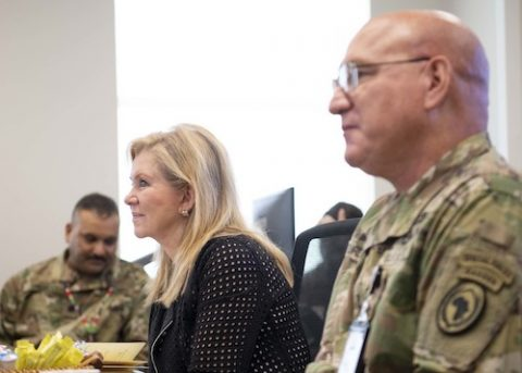 U.S. Army Maj. Gen. Michael Turello, commanding general, Combined Joint Task Force-Horn of Africa (CJTF-HOA), briefs Sen. Marsha Blackburn (R-Tenn.) about the CJTF-HOA mission at Camp Lemonnier, Djibouti. Blackburn visited Djibouti to promote U.S. Government and host nation partnerships in the region. (Staff Sgt. J.D. Strong II)