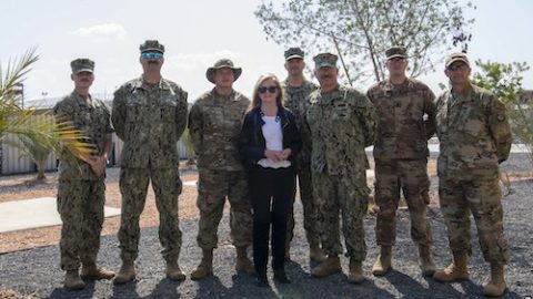 Sen. Marsha Blackburn (R-Tenn.) poses for a photo with service members from Tennessee at Camp Lemonnier, Djibouti,. Blackburn visited Djibouti to promote U.S. Government and host nation partnerships in the region. (Staff Sgt. J.D. Strong II)