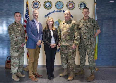 U.S. Army Maj. Gen. Michael Turello, commanding general, Combined Joint Task Force-Horn of Africa (CJTF-HOA), center-right, J. Alexander Hamilton, deputy chief of mission, U.S. Embassy Djibouti, center-left, Sen. Marsha Blackburn (R-Tenn.), center, U.S. Navy Cdr. Sean Hayes, defense attaché, U.S. Embassy Djibouti and U.S. Army Command Sgt. Maj. Shawn F. Carns, command senior enlisted leader, CJTF-HOA pose for a photo at Camp Lemonnier, Djibouti. (Staff Sgt. J.D. Strong II)