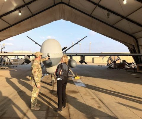 Marsha Blackburn gets a good look at an United States Unmanned Aerial System.