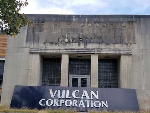 B.F. Goodrich Company Engraving discovered under the Vulcan Corporation Sign by Morgan Contractors during Demolition.