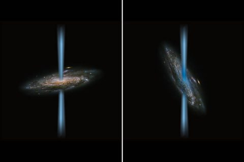 Artist's concept of a jet from an active black hole that is perpendicular to the host galaxy (left) compared to a jet that is launching directly into the galaxy (right) illustrated over an image of a spiral galaxy from the Hubble Space Telescope. SOFIA found a strange black hole with jets that are irradiating the host galaxy, called HE 1353-1917. (ESA/Hubble&NASA and NASA/SOFIA/L. Proudfit)