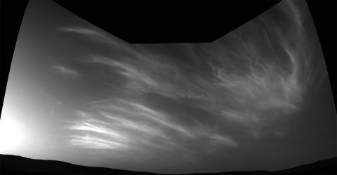 NASA's Curiosity Mars rover imaged these drifting clouds on May 17, 2019, the 2,410th Martian day, or sol, of the mission, using its black-and-white Navigation Cameras (Navcams). (NASA/JPL-Caltech)