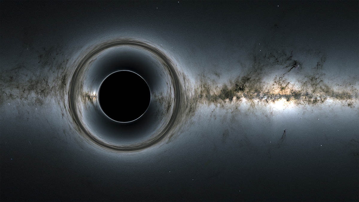 This simulation of a supermassive black hole shows how it distorts the starry background and captures light, producing a black hole silhouettes. (NASA's Goddard Space Flight Center; background, ESA/Gaia/DPAC)