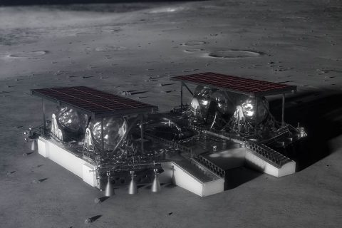 Illustration shows the mid-sized lander on the lunar surface. (NASA)