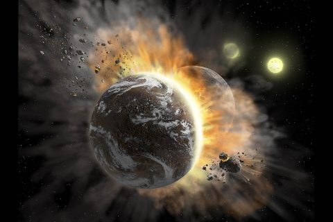Artist's concept illustrating a catastrophic collision between two rocky exoplanets in the planetary system BD +20 307, turning both into dusty debris. Ten years ago, scientists speculated that the warm dust in this system was a result of a planet-to-planet collision. Now, SOFIA found even more warm dust, further supporting that two rocky exoplanets collided. This helps build a more complete picture of our own solar system's history. Such a collision could be similar to the type of catastrophic event that ultimately created our Moon. (NASA/SOFIA/Lynette Cook)