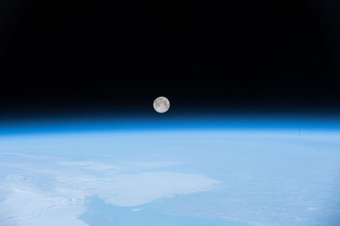 The crew of the International Space Station snapped this image of the full Moon on April 30, 2018, as the station orbited off the coast of Newfoundland, Canada. (NASA)