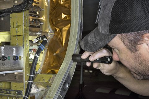 Ground crewman at NASA's Armstrong Flight Research Center in Palmdale, CA install a rail to support the Autonomous, Robotic Telescope Mount Instrument Subsystem, which is part of air-LUSI and has a camera that scans the sky to find the Moon. (NASA Photo / Ken Ulbrich)