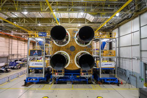 NASA's Space Launch System (SLS) rocket now has all four RS-25 engines were mated to the core stage. (Eric Bordelon, NASA)