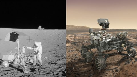 "(Left) Apollo 12 astronaut Charles ""Pete"" Conrad Jr. stands beside NASA's Surveyor 3 spacecraft; the lunar module Intrepid can be seen in the distance. Apollo 12 landed on the Moon's Ocean of Storms on Nov. 20, 1969. (Right) Mars 2020 rover, seen here in an artist's concept, will make history's most accurate landing on a planetary body when it lands at Mars' Jezero Crater on Feb. 18, 2021. (NASA/JPL-Caltech)"