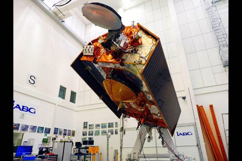 The Jason-CS/Sentinel-6 mission that will track sea level rise, one of the clearest signs of global warming, for the next 10 years. Sentinel-6A, the first of the mission's two satellites, is shown in its clean room in Germany and is scheduled to launch in November 2020. (IABG)