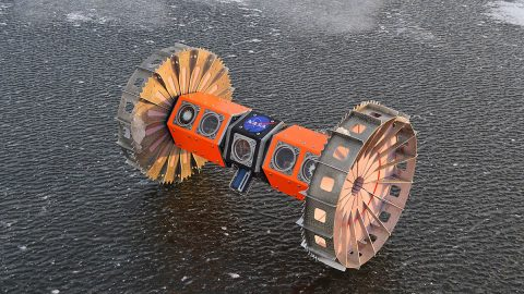 BRUIE will spend the next month testing its endurance in the icy waters near Casey Station, Antarctica. The rover uses its buoyancy to anchor itself to the ice and roll along it upside down on two wheels. (NASA)