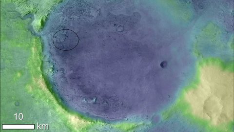 NASA's Mars 2020 Will Hunt for Microscopic Fossils Lighter colors represent higher elevation in this image of Jezero Crater on Mars, the landing site for NASA's Mars 2020 mission. The oval indicates the landing ellipse, where the rover will be touching down on Mars. (NASA)