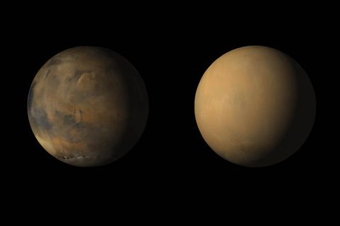 Side-by-side movies shows how the 2018 global dust storm enveloped the Red Planet, courtesy of the Mars Color Imager (MARCI) camera onboard NASA's Mars Reconnaissance Orbiter (MRO). This global dust storm caused NASA's Opportunity rover to lose contact with Earth. (NASA/JPL-Caltech/MSSS)