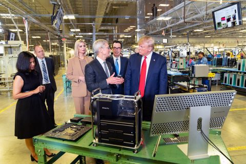 President Donald J. Trump tours the Apple Manufacturing Plant in Austin, Texas, with Apple CEO Tim Cook. (Official White House, Shealah Craighead)