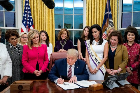 President Donald Trump signs Bill Creating Women's Suffrage Commemorative Coin. (Elizabeth Gregory)