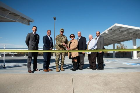 "(L to R), Adam Glod, SLS Energy Solutions, Richard Hunter, SLS Energy Solutions, Maj. Gen. Jeff Holmes, Tennessee's Adjutant General, Kathy Glapa, Tenn. Dept. of Environment and Conservation, Todd Smith, SLS Energy Solutions, Danny Brown, Energy Manager for the Tenn. Army National Guard and Chris Koczaja, President of Lightwave Solar cut a ""GREEN"" ribbon at the unveiling of a state-of-the-art Solar Photovoltaic system at the Joint Force Headquarters, Tenn. National Guard in Nashville, November 6, 2019. (Sgt. Robert Mercado)"