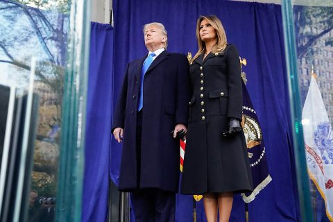 U.S. President Donald Trump and First Lady Melania Trump participate in a wreath laying at the New York City Veterans Day Parade. (Shealah Craighead, Official White House)