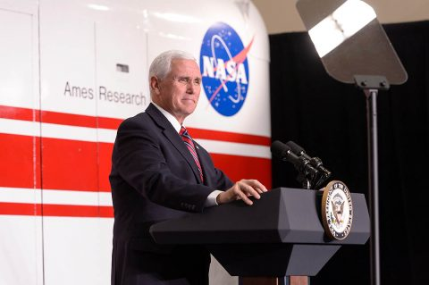 U.S. Vice President Mike Pence speaks at the Vertical Motion Simulator facility at NASA's Ames Research Center in California's Silicon Valley on Thursday, Nov. 14, 2019. (NASA/Dominic Hart)