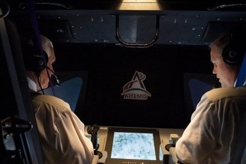 U.S. Vice President Mike Pence (left) and NASA Administrator Jim Bridenstine (right) in the Vertical Motion Simulator at NASA's Ames Research Center in Silicon Valley. (Myles Cullen, Official White House Photo)