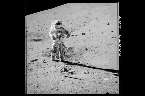 Apollo 17 astronaut Gene Cernan preparing to collect samples 73001 and 73002. (NASA)