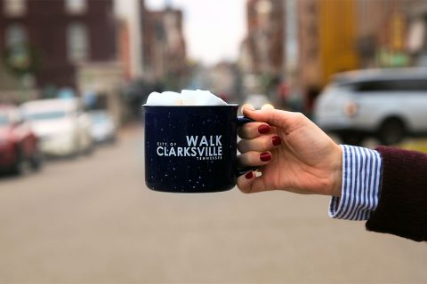 Join Walk Bike Clarksville downtown from 9:00am to noon Saturday for a cup of hot chocolate and information about steps being taken to make Clarksville more walkable.