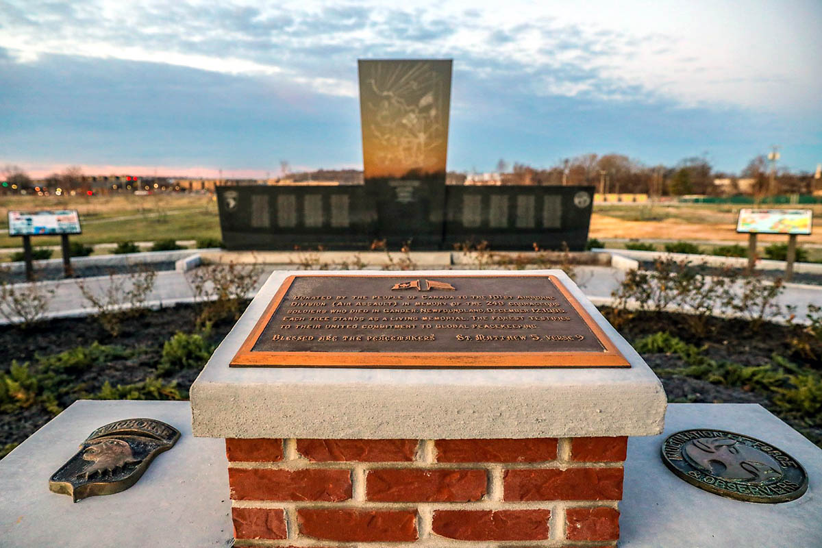 The new Gander Memorial on Fort Campbell, Kentucky, December 5th, 2019. The memorial tree park consists of 256 trees, representing the 248 Soldiers and eight civilians who were killed in a 1985 airplane crash in Gander, Newfoundland. (U.S. Army photo by Sgt. Justin Navin)
