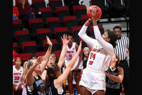 Austin Peay Women's Basketball junior Kelen Kenol scores 15 points, highest of her career, to lead Govs on the road against Alabama A&M. (APSU Sports Information)