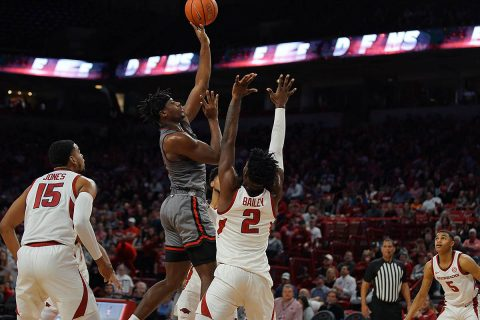 Austin Peay Men's Basketball junior Terry Taylor had 20 points in loss to Arkansas Tuesday night. (APSU Sports Information)