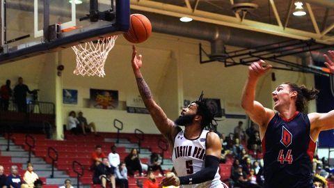 Austin Peay State University Men's Basketball fights hard in loss to Duquesne Saturday. (APSU Sport Information)