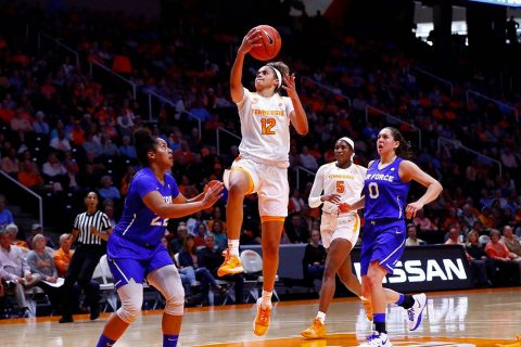 Tennessee Women's Basketball sophomore  Rae Burrell scored 18 points in the Lady Vols win over Air Force at Thompson-Boling Arena, Sunday. (UT Athletics)