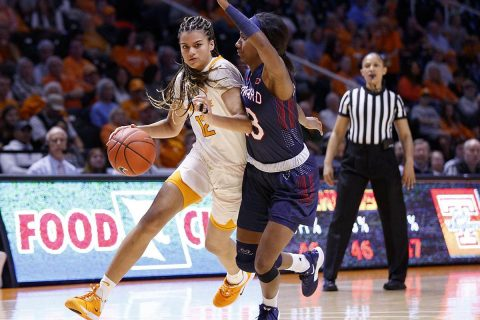 Tennessee Women's Basketball sophomore Rae Burrell poured in 18 points and pulled down 12 rebounds in Lady Vols win over Howard, Sunday afternoon. (UT Athletics)