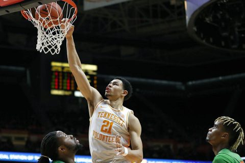 Tennessee Men's Basketball freshman Olivier Nkamhoua earns his first career double-double with season-high 11 points and a season-high 13 rebounds. (UT Athletics)
