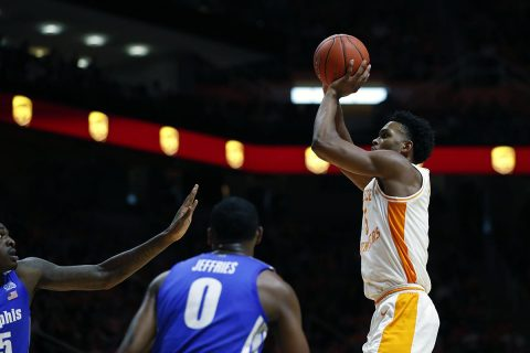 Tennessee Men's Basketball falls to Memphis 51-47 at Thompson-Boling Arena, Saturday. (UT Athletics)