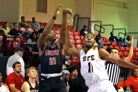 Austin Peay State University Men's Basketball junior #21 Terry Taylor drains a 3 pointer in 80-69 victory against over Alabama State. Taylor and Adams scored 30 points in the contest. (APSU Sports Information)