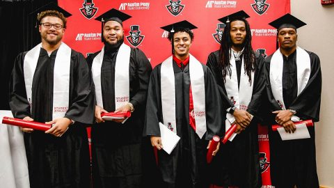 Austin Peay State University Football seniors (L to R) Shaun Whittinghill, Marquise Griffin, Devin Stuart, Johnathon Edwards, and Erskine Francis honored in special graduation cermony, Monday. (APSU Sports Information)