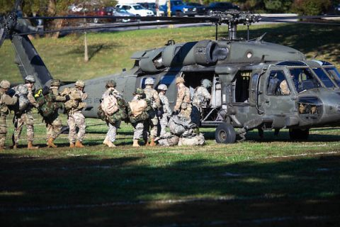 Austin Peay State University ROTC cadets conducting training with Black Hawk helicopters. (APSU)