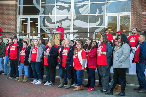Austin Peay State University President White recognized the hard work of APSU's staff. (APSU)