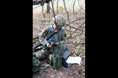 A Soldier preparing for the Expert Field Medical Badge practices assembling a Single Channel Ground and Airborne Radio System used to request aeromedical evacuation support for a combat casualty. Communication tasks are one seven areas Soldiers must demonstrate proficiency in order to earn the Army's Expert Field Medical Badge. (U.S. Army photo by Maria Yager)