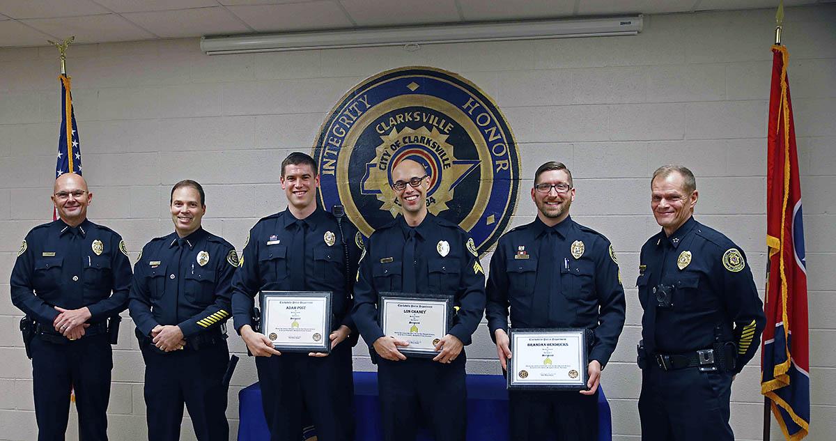 Clarksville Police Department promotes Adam Post, Brandan Hendricks, Lon Chaney to Sergeant