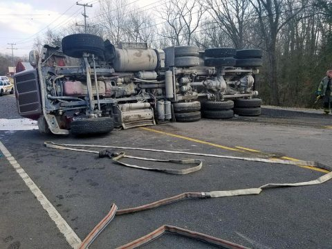 Overturned Asphalt truck on 41A Bypass