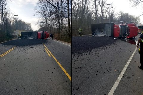 41A Bypass is closed in both directions due to an overturned Asphalt truck.