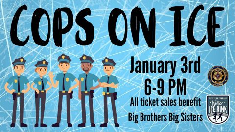 Cops on Ice will be held at the Downtown Commons Winter Ice Rink on January 3rd, 2020.